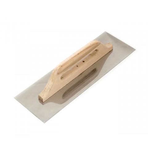 фото Терка - гладилка с деревянной ручкой и нержавеющим полотном гладкая 125х380 мм Polax (ручка-дерев.) (100-092)