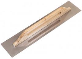 фото Терка - гладилка с деревянной ручкой и нержавеющим полотном гладкая 125х580 мм (ручка-дерев.) (100-094)