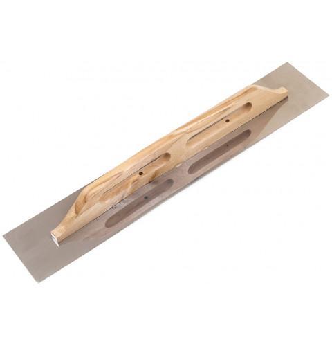 фото Терка - гладилка с деревянной ручкой и нержавеющим полотном гладкая 125х680 мм (ручка-дерев.) (100-095)