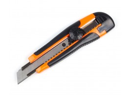 фото Нож строительный Polax с выдвижным лезвием и обрезиненной рукояткой 18 мм (23-003)