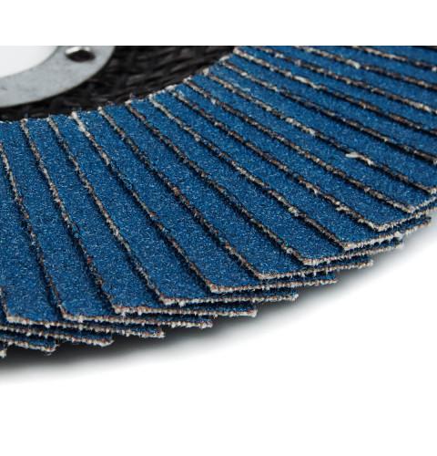 фото Круг (диск) Polax шлифовальный лепестковый для УШМ (болгарки) оксид циркония 125*28 мм зерно K120 (54-094)