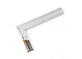 фото Угольник столярный Polax алюминиевый строительный по 2 шкалы на 2х сторонах 25 см (38-017)
