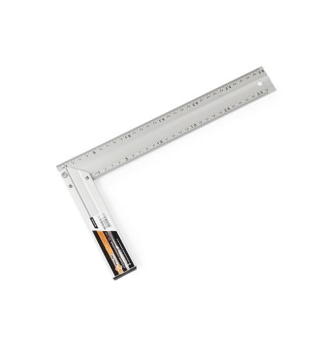 фото Угольник столярный Polax алюминиевый строительный по 2 шкалы на 2х сторонах 30 см (38-018)