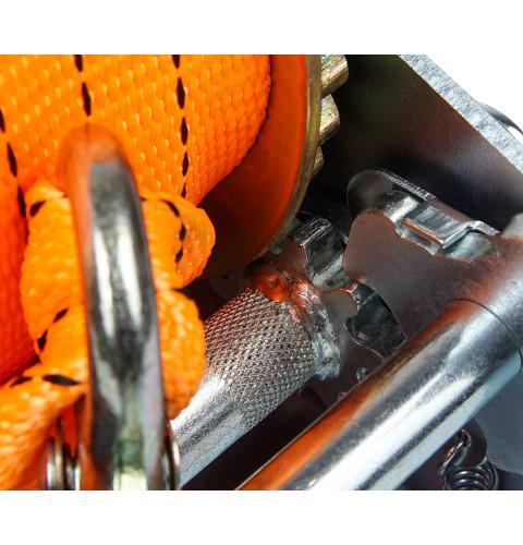 фото Лебедка ручная барабанная ленточная Polax 50 мм х 10м 2000 lbs 900 кг (01-007)