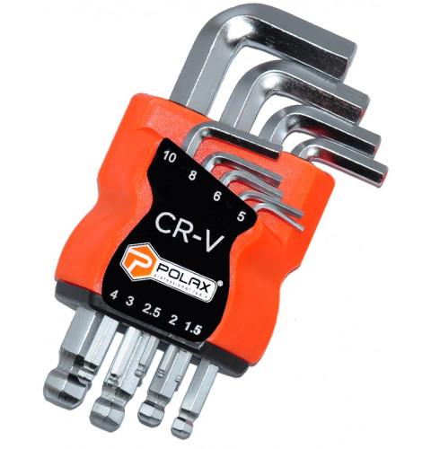 фото Набор шестигранных Г-образных ключей Polax с шаром 9 предметов, 1.5-10 мм, Cr-V (25-009)
