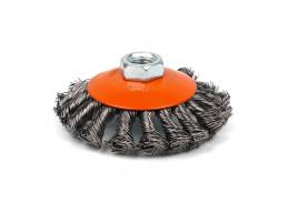 фото Щетка Polax конусная по металлу для УШМ (болгарки) пучки витой плетеной стальной проволоки М14 100 мм (54-164)