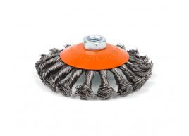 фото Щетка Polax конусная по металлу для УШМ (болгарки) пучки витой плетеной стальной проволоки М14 115 мм (54-165)