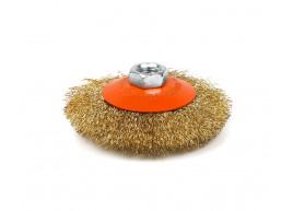 фото Щетка Polax конусная по металлу для УШМ (болгарки) гофрированная рифленая проволока М14 100 мм (54-167)