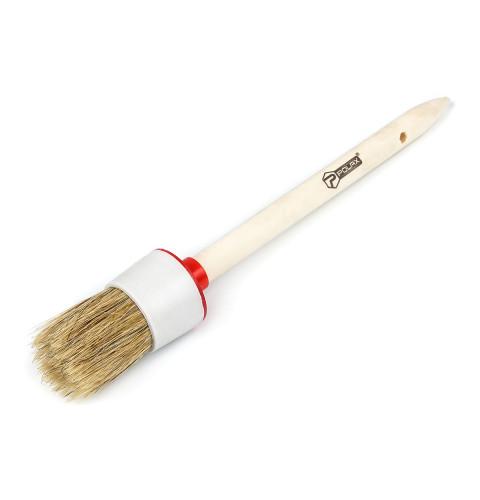 фото Кисть малярная Polax круглая деревянная ручка Стандарт №8 35мм (08-004)